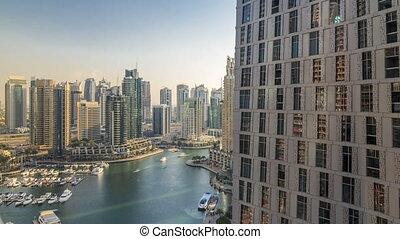 beau, canal, dubai, vue aérienne, yachts, promenade, marina, coucher soleil, uae., bateaux, flotter, dubai, avant