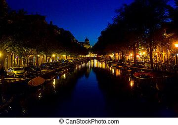 beau, canal, soir, vieille ville, pays-bas, amsterdam, temps