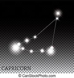 beau, capricorne, signe, clair, étoiles, zodiaque