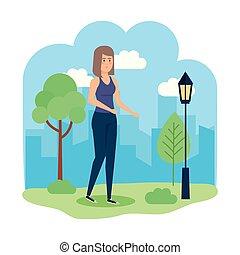 beau, caractère, femme, parc