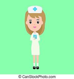 beau, caractère, infirmière, livre, patient