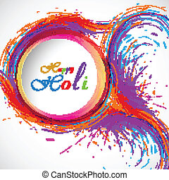 beau, carte, holi, festival, célébration, coloré, fond