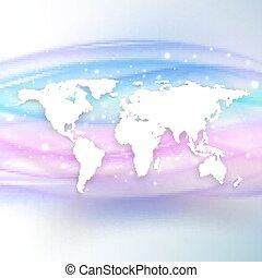 beau, carte, silhouette, illustration, vague, fond, vecteur, mondiale, blanc, ombre