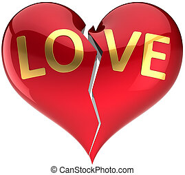 beau, cassé, forme, aimez coeur