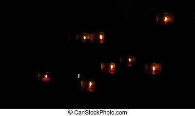 beau, catholique, niche, obscurité, brûlé, bougies, rouges, ...
