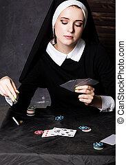 beau, catholique, religieuse, religion, pourri, jouer, cartes.