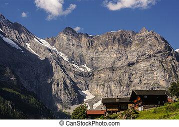 beau, central, gimmelwald, suisse, alps:, village, suisse, vue