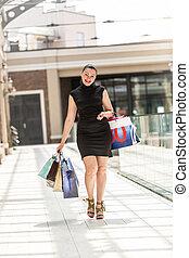 beau, centre commercial, achats femme, sourire