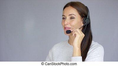 beau, centre, positif, travail, agent, appeler, femme