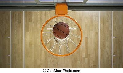 beau, cerceau, rotation, vue., sport, 3840x2160., basket-ball, sommet, voler, animation, 3d, net., balle, lent, jeter, hd, mouvement, 4k, panier, professionnel, ultra, concept.
