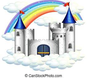 beau, château, arc-en-ciel, sur