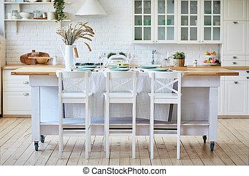 beau, chairs., bois, île, table, blanc, cuisine