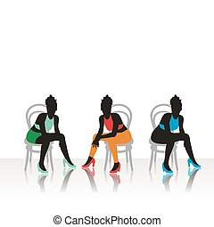 beau, chaises, assied, filles