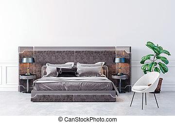 beau, chambre à coucher, 3d, render, intérieur