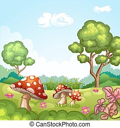 beau, champignons, paysage