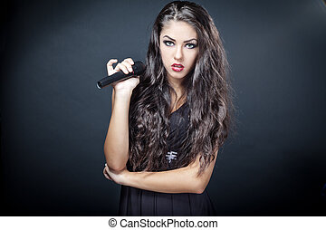 beau, chanteur, femme, jeune