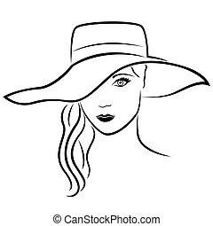 beau, chapeau, dame, contour, jeune