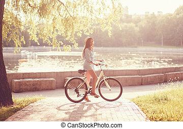 beau, chapeau, girl, vélo