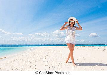 beau, chapeau, sourire, plage, girl