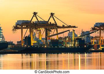 beau, chargement, récipient, lumière, industrie, matin, marchandises, logistique, importation, bateau, port, transport