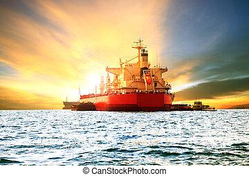 beau, chargement, récipient, port, soleil, commercial, contre, marchandises, mer, lumière, bateau, port