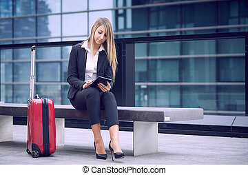 beau, chariot, sac de voyage, femme affaires