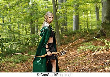 beau, chasse, elfe, arc, archer, forêt, femme