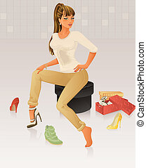 beau, chaussures, achats femme