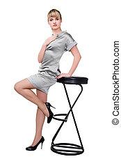 beau, chaussures, argent, élevé, noir, poser, chaise, robe, modèle