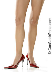 beau, chaussures, isolé, fond, blanc, jambes, rouges