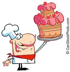 beau, chef cuistot, fier, gâteau