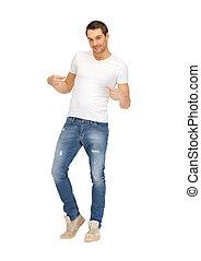 beau, chemise, blanc, homme