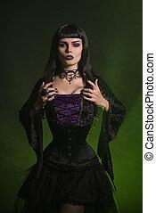 beau, chemisier, velours, corset, habillé, sorcière