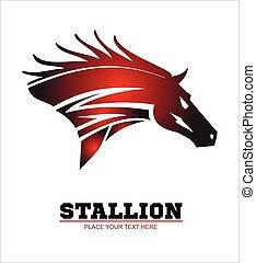 beau, cheval, étalon, tête, rouge foncé, color., courant, head., cheval rouge