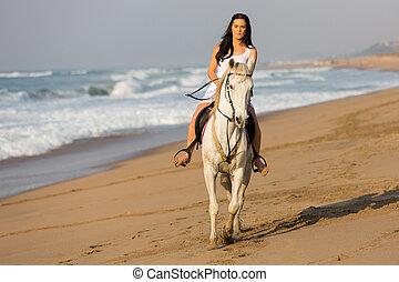 beau, cheval, femme, jeune, équitation, plage