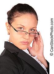 beau, cheveux brun, femme, lunettes