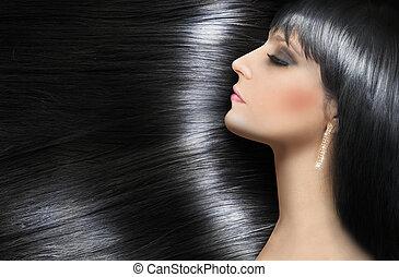 beau, cheveux, brunette, brillant, bûche