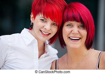 beau, cheveux, deux, rouges, femmes