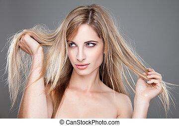 beau, cheveux, femme, long, désordre