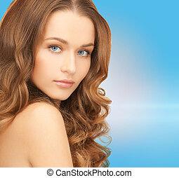 beau, cheveux, femme, long