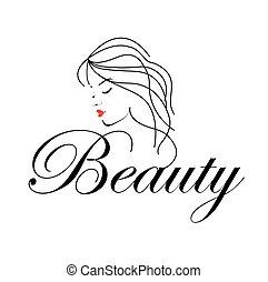 beau, cheveux, femme, ondulé