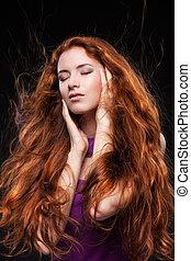beau, cheveux, femme, rouges