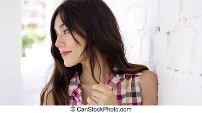 beau, cheveux, femme souriante, long
