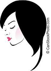 beau, cheveux, girl
