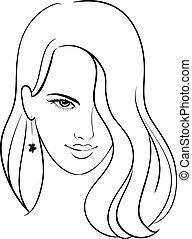 beau, cheveux, girl, figure
