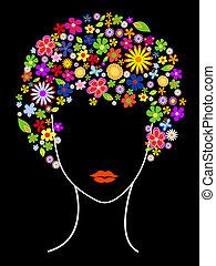 beau, cheveux, girl, fleurs