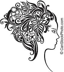 beau, cheveux, girl, fleurs, elle