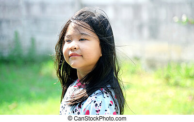 beau, cheveux, girl, jeune, long