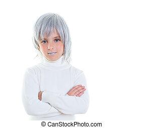 beau, cheveux gris, enfant, girl, futuriste, gosse