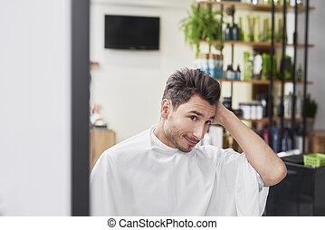 beau, cheveux, homme, portrait, salon